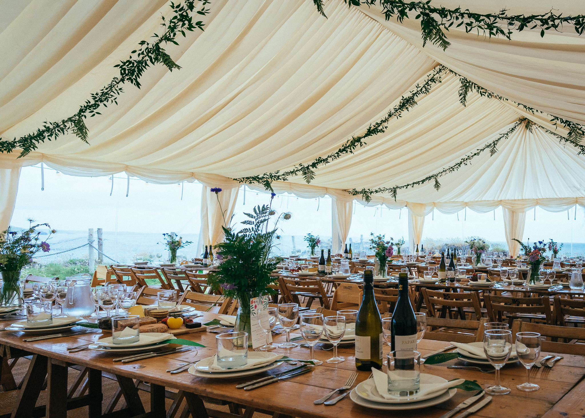 Wooden Trestle Tables For Marquee Wedding