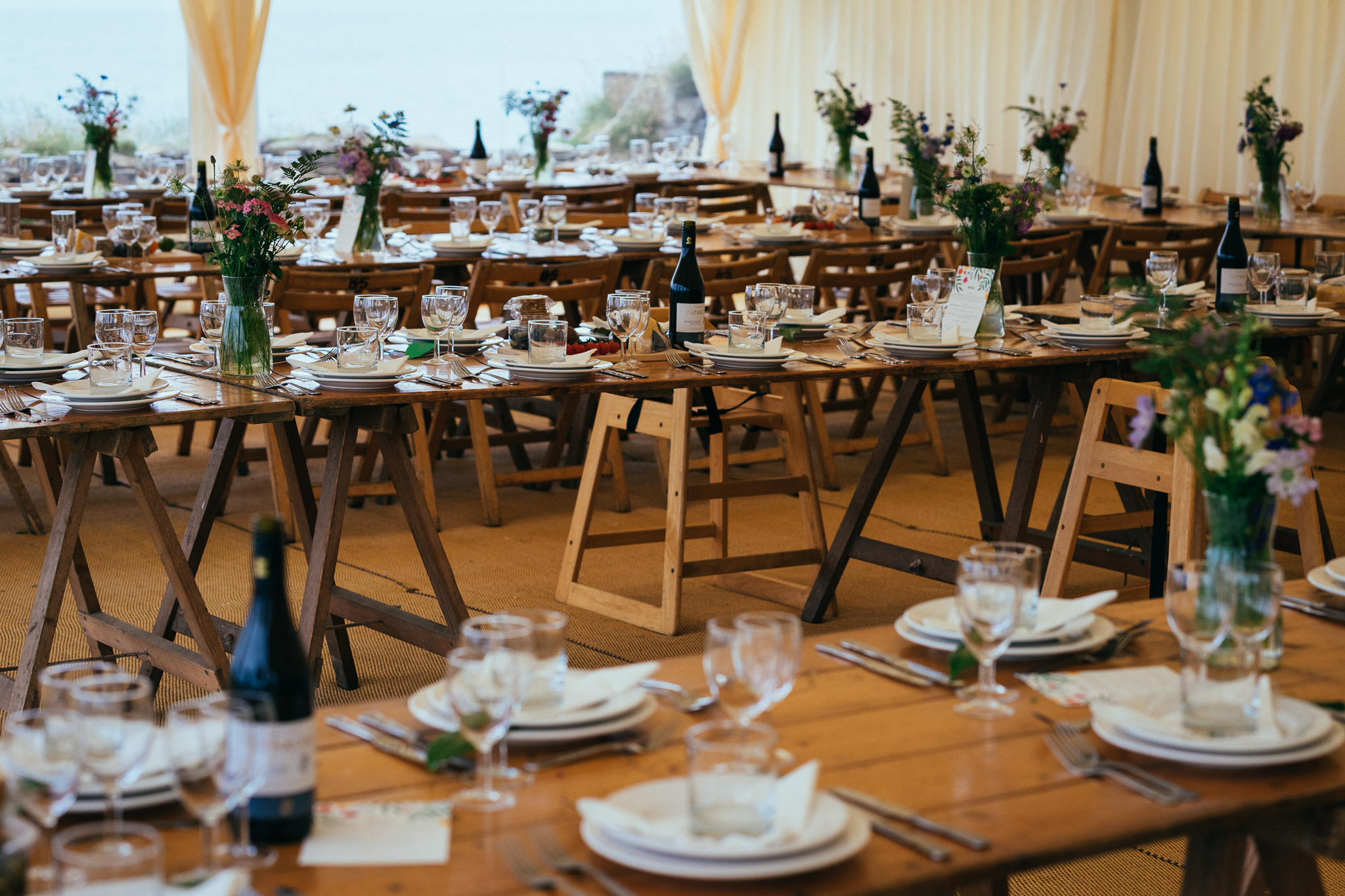 Wooden Trestle Tables For Marquee Wedding At Prussia Cove Cornwall