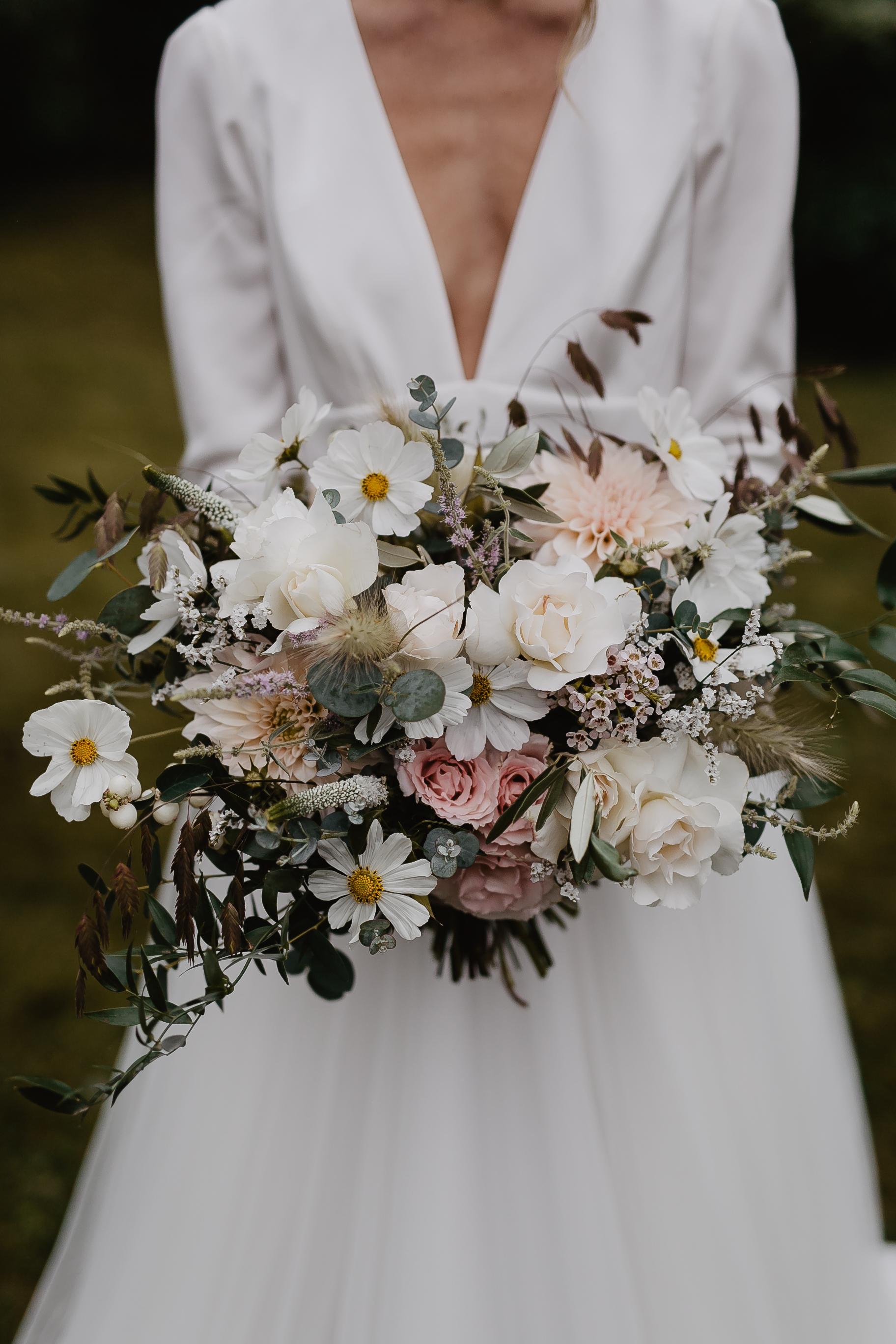 Wedding Bouquet With Wild Grasses, Cosmos, Roses And Dahlias