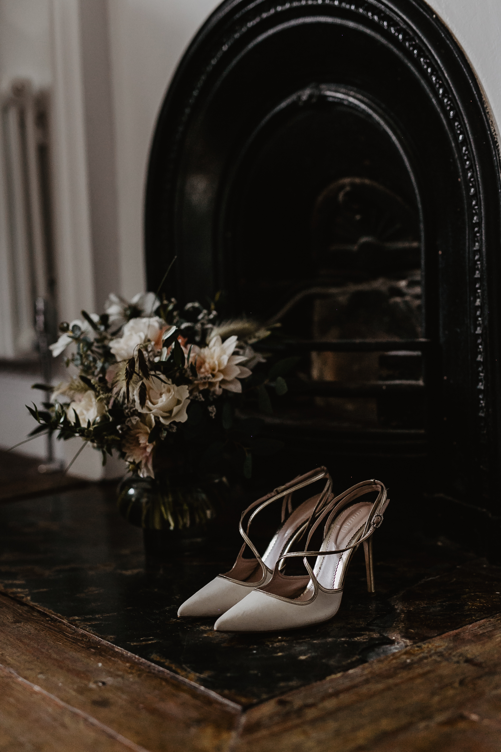 Emmy London Ivory & Gold Wedding Shoes