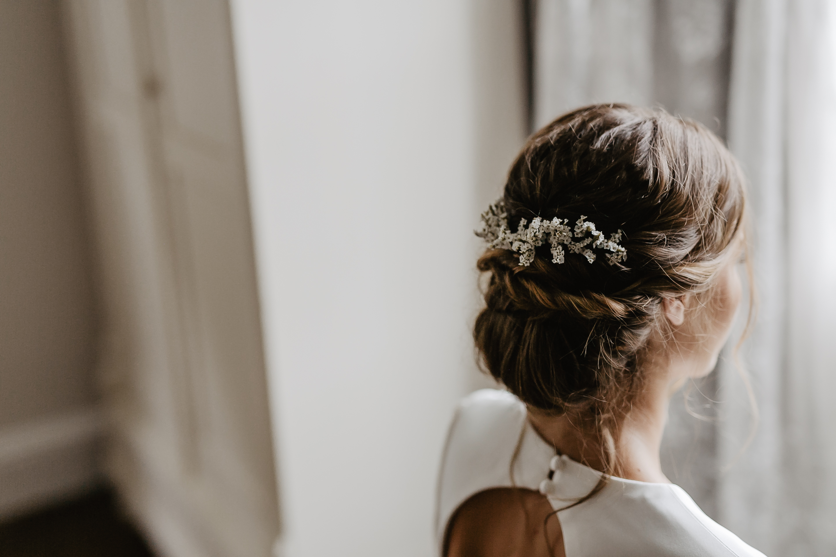 Bridal Up Do With Delicate White Flowers