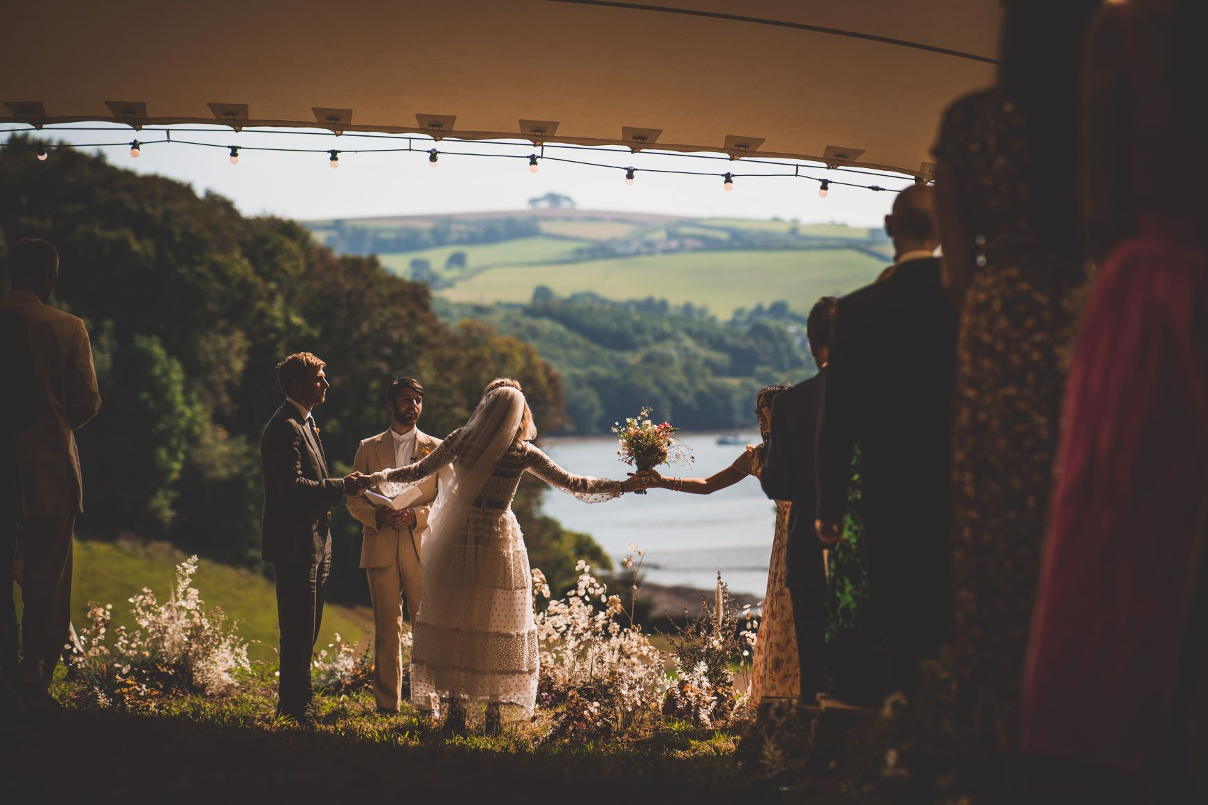 Wedding Ceremony In Orchard With Stretch Tent Private Estate Wedding Devon