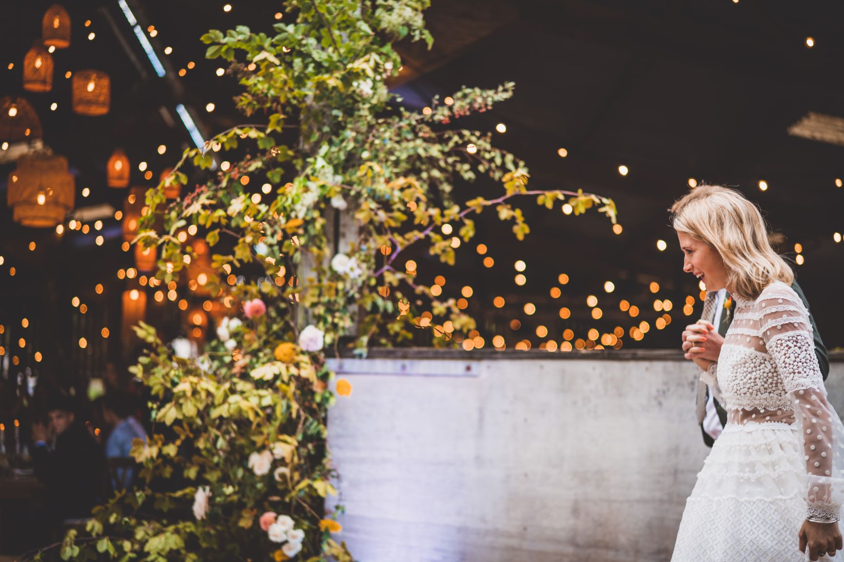 Barn Wedding Devon With Foliage And Flower Installation