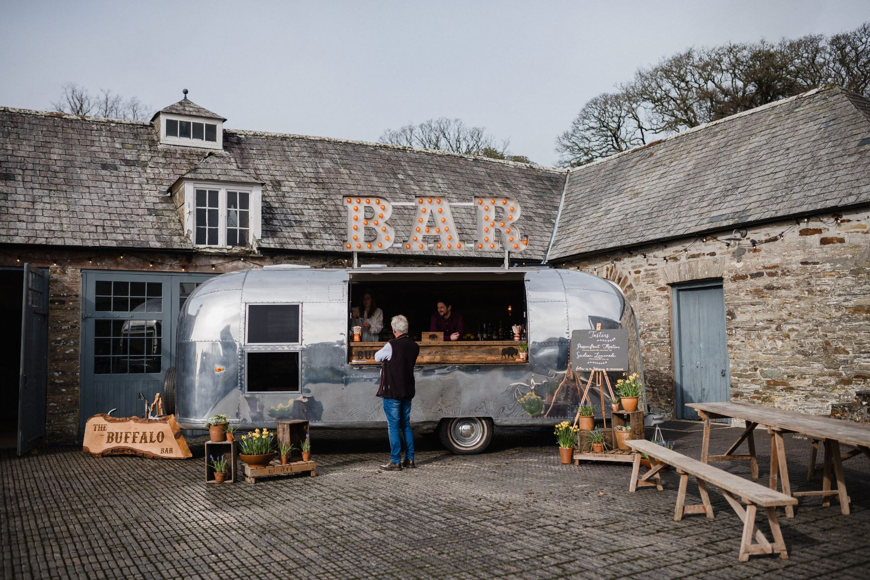Mobile Airstream Bar For Weddings At Boconnoc House