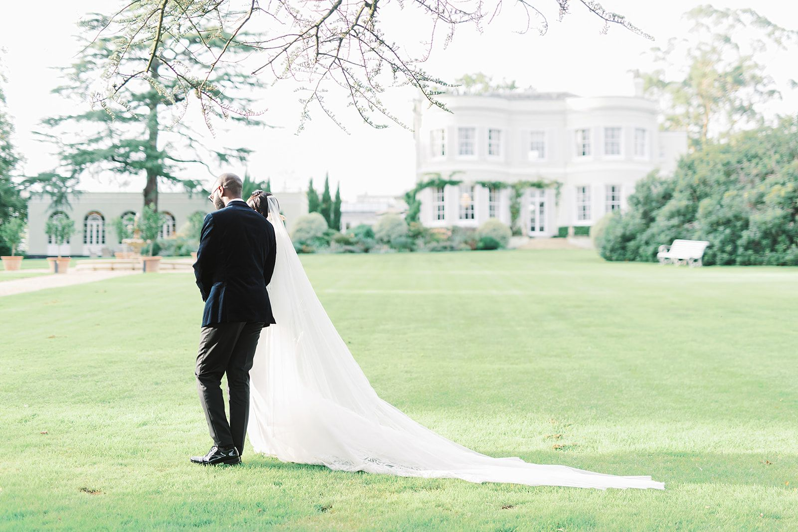 Bride and Groom at Deer Park Country House in Devon