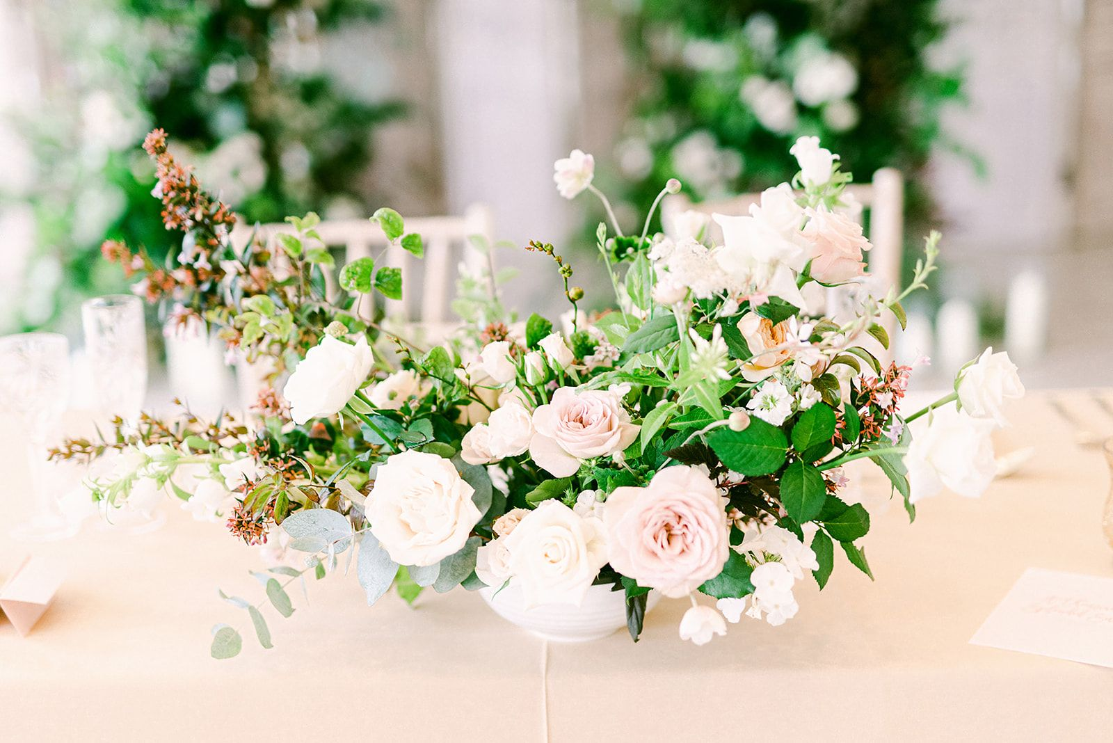 Bowl Arrangement For Tables At Wedding Reception With Roses