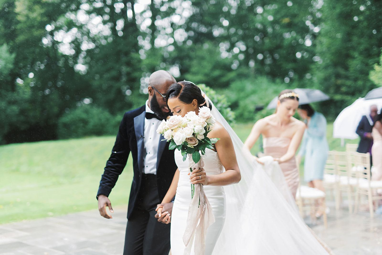 Bride and Groom in Black Tie For An Outdoor Wedding Ceremony In Devon