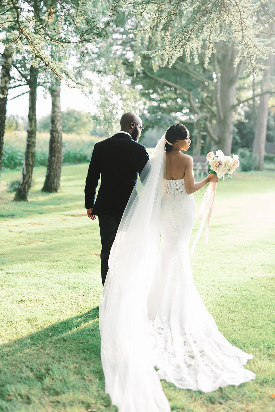 Bride and Groom in Black Tie Attire at Golden Hour