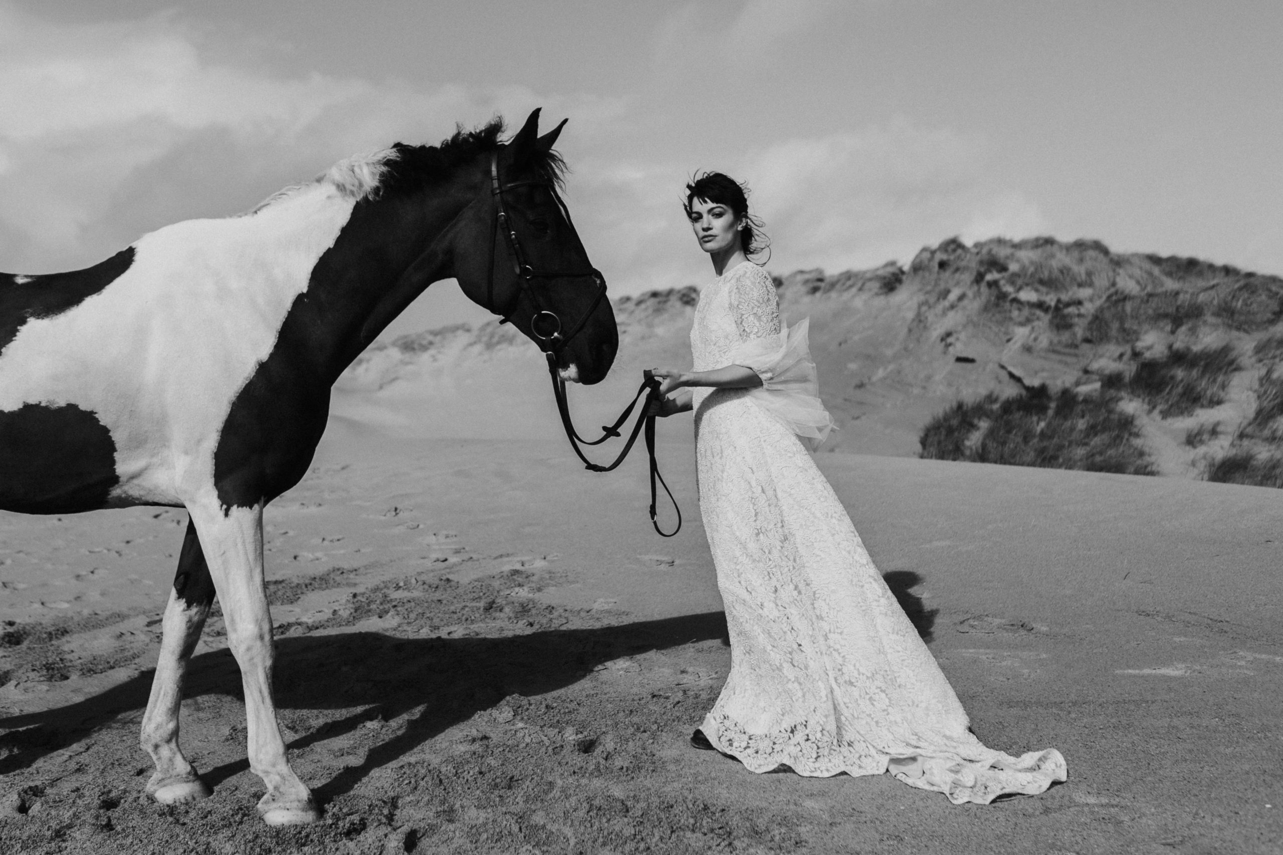 Bride With Horse On Beach