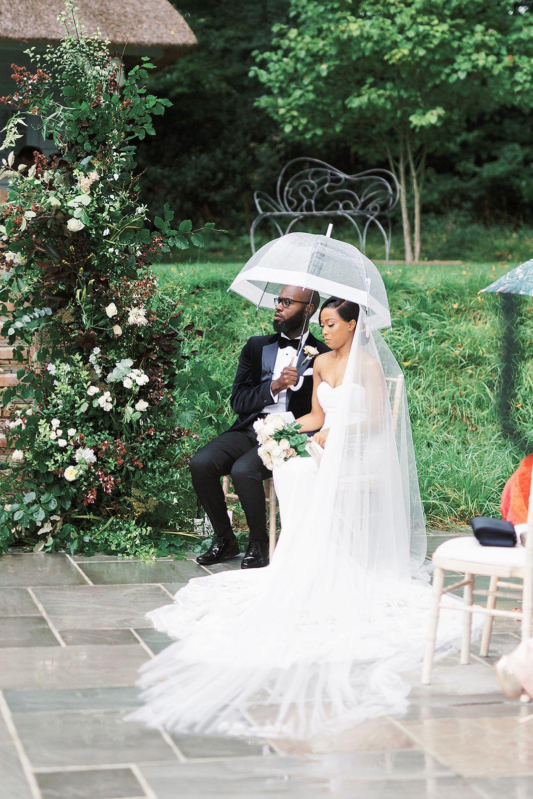 Outdoor Wedding Ceremony in the rain