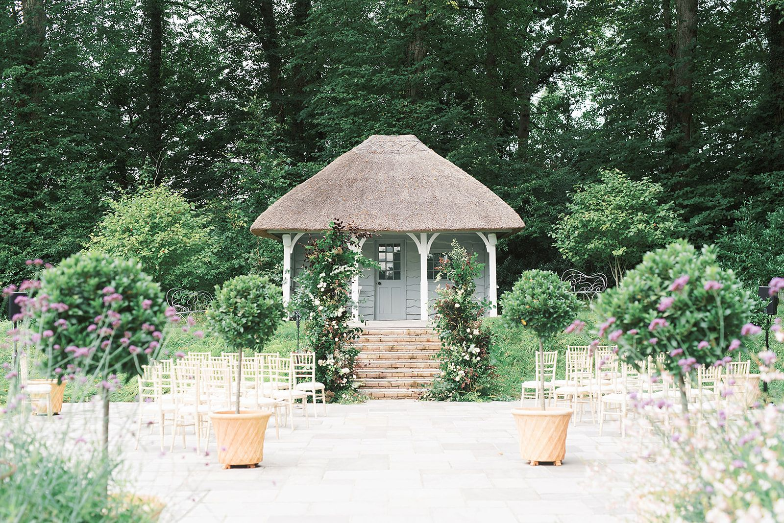Large Floral Arrangements For Outdoor Wedding Ceremony at Deer Park Country House